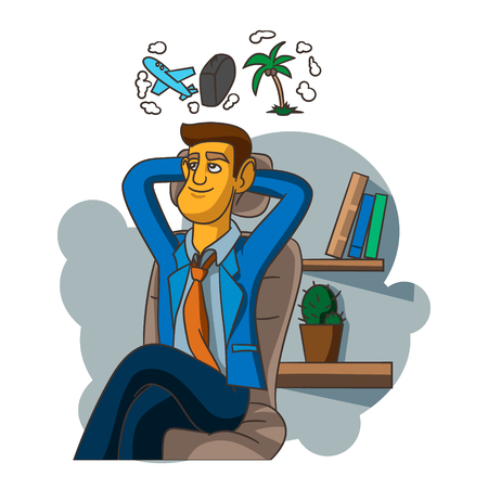 people: A businessman thinking in oficce vector illustration