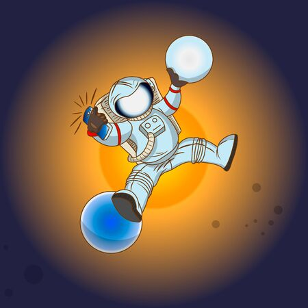 selfy: The astronaut in outer space Illustration
