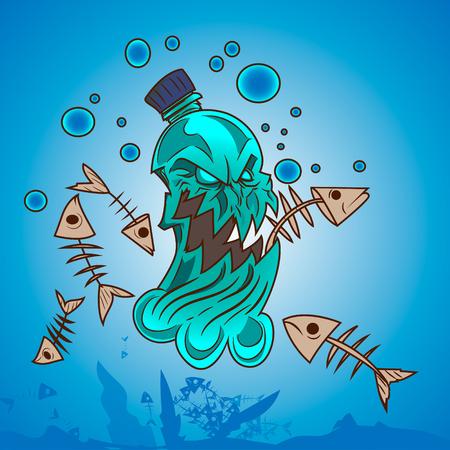 Plastische Verschmutzung in Ozean-Monster-Flasche