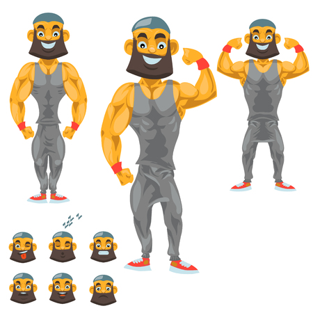 Man character for your scenes Funny cartoon.Vector illustration isolated on white background. and emoji