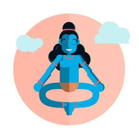 God Krishna character sitting in lotus position. Vector flat cartoon illustration Illustration