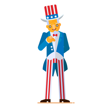 Great illustration in flat style of Uncle Sam pointing
