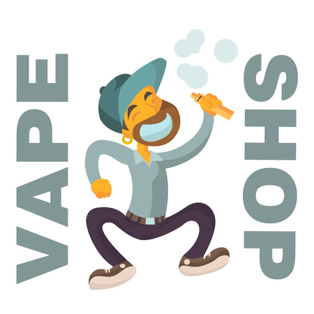 vape shop logo with boy flat character on isolated white background
