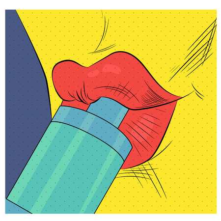 Female lips with clearomizer in vintage pop art style