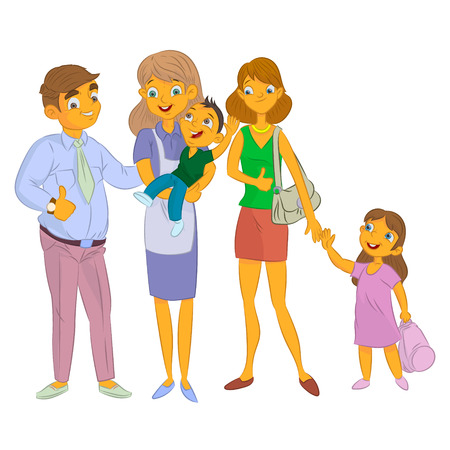 Nanny with kid and family with child cartoon