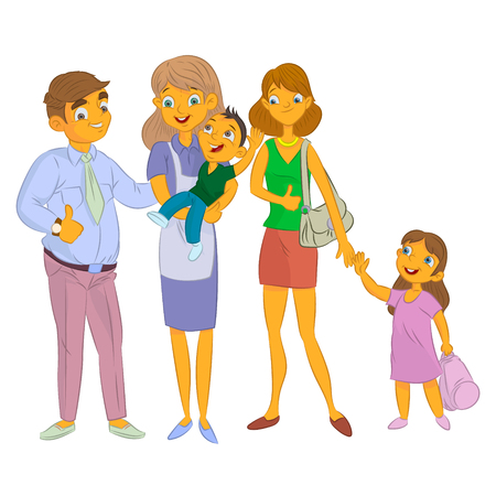 masculin: nanny with kid and family with child cartoon Stock Photo