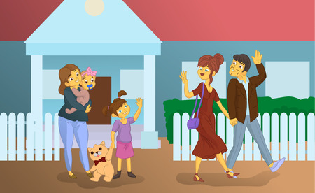 the nanny with children sees off parents cartoon illustration Çizim