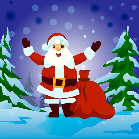 Santa Claus with big signboard greeting card