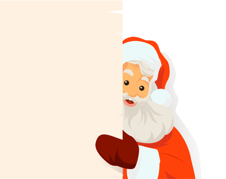 Santa Claus holding blank sign. You can add as much white space as you need