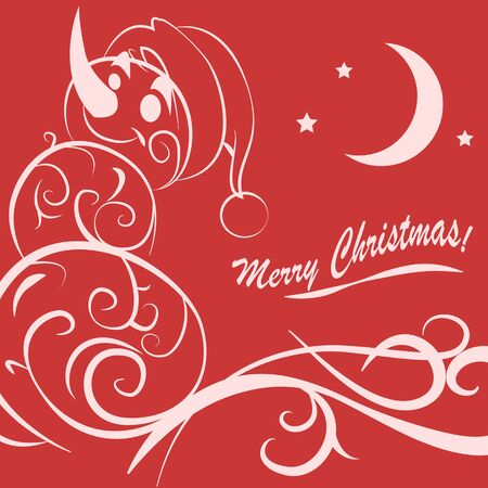 Funny snowman hand drawn Christmas card Stock Photo
