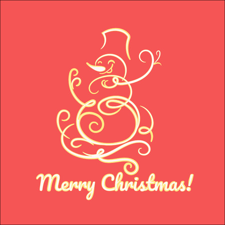 Funny snowman hand drawn Christmas card Illustration