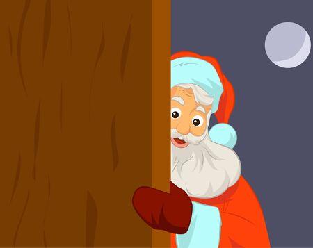 Santa Claus holding blank door