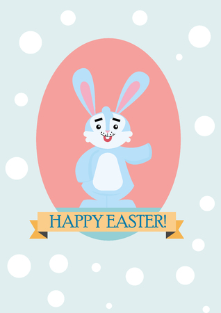 Happy bunny Easter card with Happy Easter text illustration.