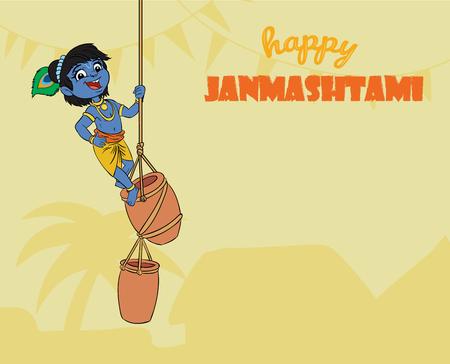 little Krishna. cartoon illustration
