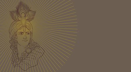 krishhna portarait head illustrated Vector Illustration