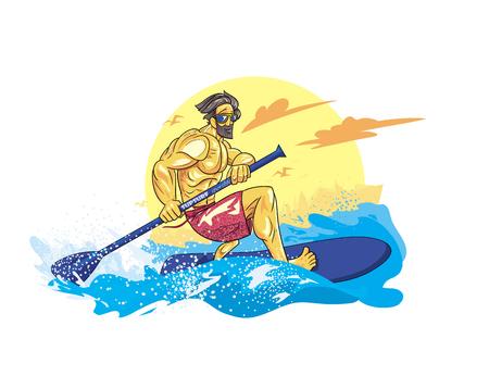 cartoon style boy on the supsurf paddle