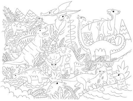 Vector illustration Dinosaur Character Cartoon Monster coloring image for kids Illustration