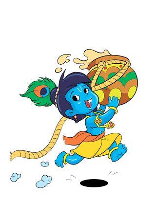 Piccolo personaggio dei cartoni animati Krishna in esecuzione