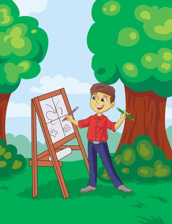 pretty child draws with two hands cartoon drawing