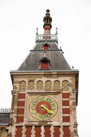 Details on exterior section of Amsterdam Central Station, Amsterdam