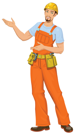 one person only: Smiling builder Illustration