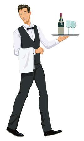 waiter with a tray Ilustracja