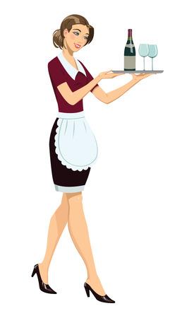 Serveerster met lade Stock Illustratie