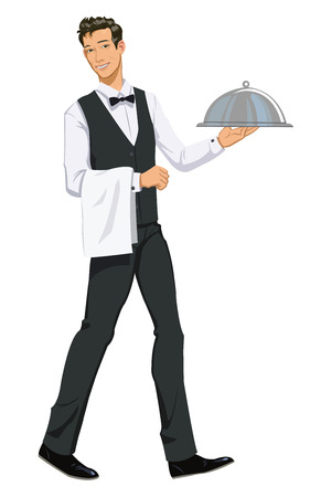 Waiter Carrying Domed Platter - Illustration Vector