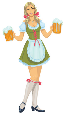 girl with beer  イラスト・ベクター素材