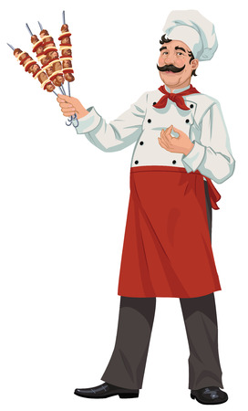 cook holds skewers with meat Illustration