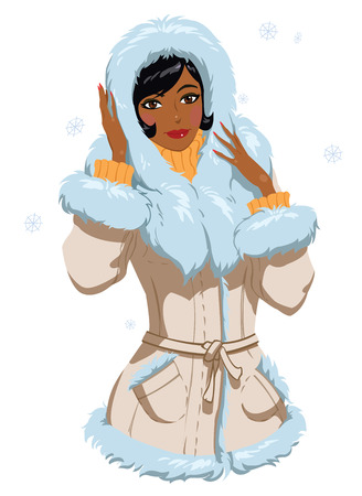 mulatto: mulatto in winter clothes