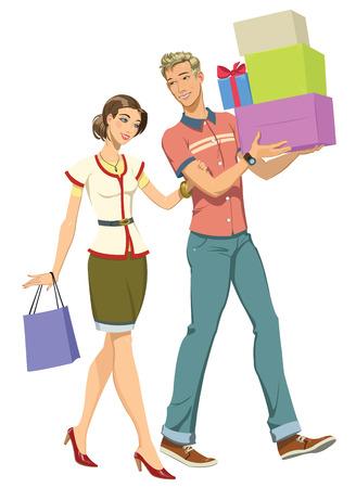 vector illustratie jonge gelukkige paar gaan winkelen