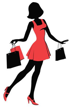 Mujer con bolsas de la compra