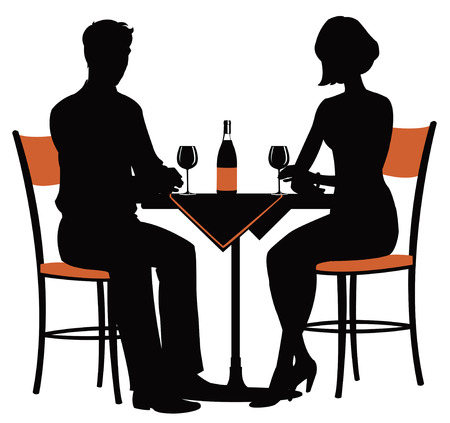the silhouette of a young couple at the table with a bottle of wine 矢量图像