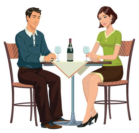 jong meisje en jonge man zit in een cafe en het drinken van wijn Stock Illustratie
