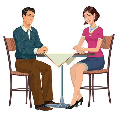 young couple sitting at a table in a cafe Vector