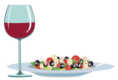 ensalada cesar: Comida ligera y vino Vectores
