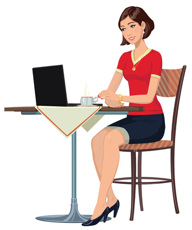 girl in the Internet cafe 矢量图像