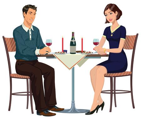 diner romantique: d�ner romantique dans un caf� pour deux Illustration