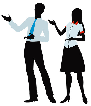 silhouette of woman and men presenting