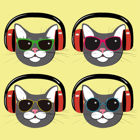 funny cats in music  headphones and sunglasses Illustration