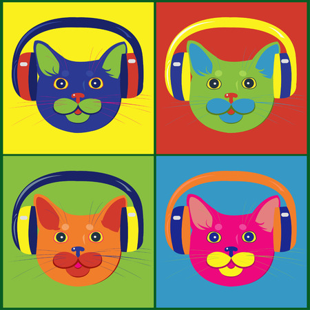 brightly: brightly colored cats in the music headphones Illustration