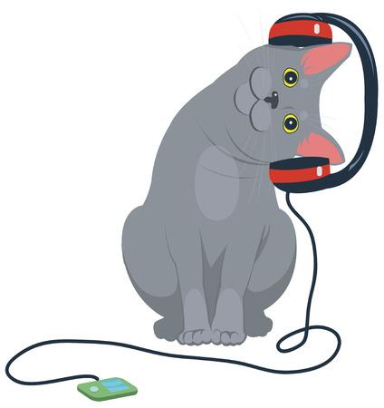 cat music headphones 矢量图像