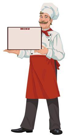 imposing: Chef presenta un men� Vettoriali