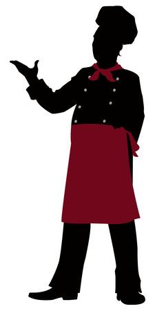 silhouet Happy chef presenteren iets Stock Illustratie