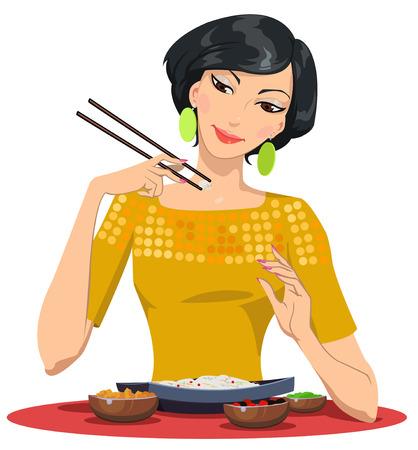 prepared fish: beautiful girl eats with chopsticks Illustration
