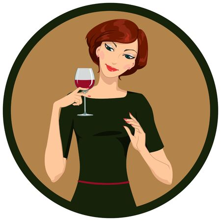 ivresse: fille de boire du vin blanc Illustration