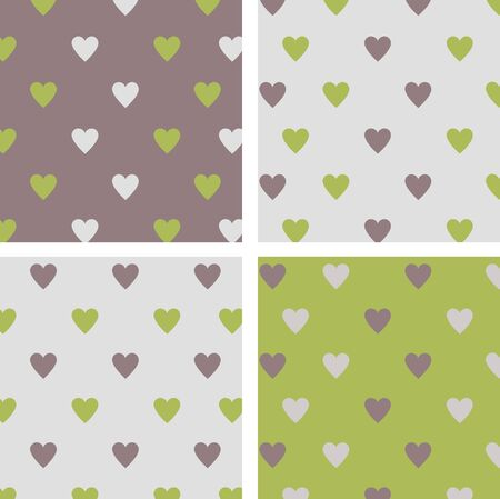 set of  patterns hearts Vector
