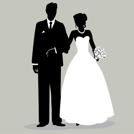 bride and groom illustration: Bride and Groom Silhouette - Illustration