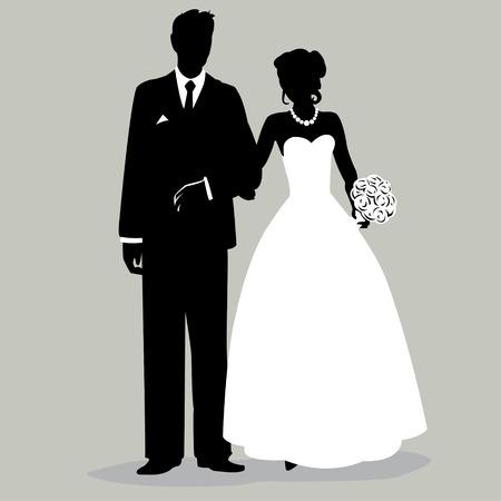 Bruid en Bruidegom Silhouette - Illustratie